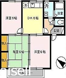 広島県広島市佐伯区利松1丁目の賃貸アパートの間取り