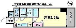 ファーストステージ江戸堀パークサイド 2階1Kの間取り