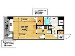 エステートモア赤坂[507号室]の間取り
