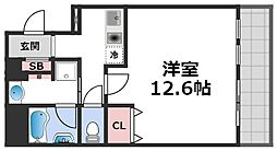 セゾンラトゥール桃谷 3階1Kの間取り