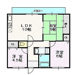 クレールコート[2階]の間取り