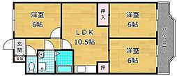 大阪府枚方市中宮山戸町の賃貸マンションの間取り