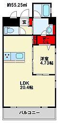 スマート到津 13階1LDKの間取り