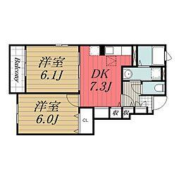 JR成田線 成田駅 バス9分 新木戸下車 徒歩4分の賃貸アパート 1階2DKの間取り