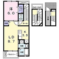 神奈川県海老名市杉久保北5丁目の賃貸アパートの間取り