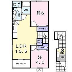 岡山県岡山市中区乙多見の賃貸アパートの間取り