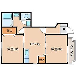 近鉄天理線 二階堂駅 徒歩3分の賃貸アパート 1階2DKの間取り