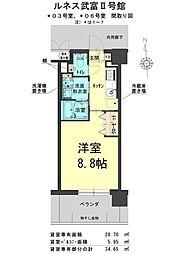 ルネス武富II 3階1Kの間取り