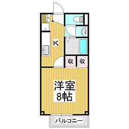 エスポワールハヤシ B 1階1Kの間取り