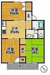 アベニール22 D棟 1階3DKの間取り