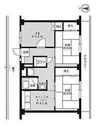 ビレッジハウス春日I1号棟3階Fの間取り画像