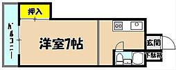 福岡県北九州市小倉北区吉野町の賃貸アパートの間取り