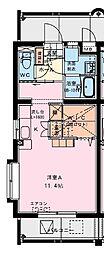 (仮称)潮見町YMマンション 2階ワンルームの間取り