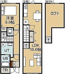 七重浜3丁目新築 1階1LDKの間取り