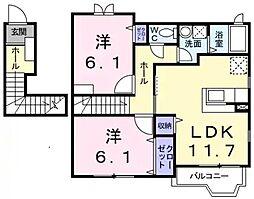 兵庫県神戸市垂水区下畑町字井之谷の賃貸アパートの間取り