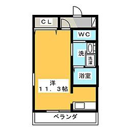 レジェンド横田 5階ワンルームの間取り
