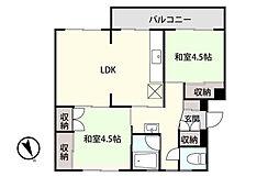 アシスト第8青森マンションA 3階2LDKの間取り