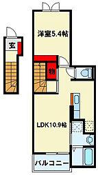 ポルタコスタII A棟 2階1LDKの間取り