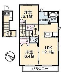 岡山県倉敷市福田町福田丁目なしの賃貸アパートの間取り
