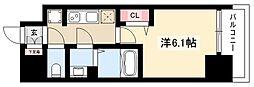 プレサンス丸の内アドブル 6階1Kの間取り