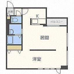 札幌市電2系統 中央区役所前駅 徒歩3分の賃貸マンション 9階1LDKの間取り