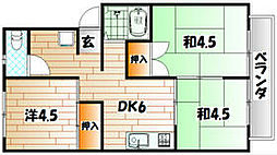 福岡県京都郡苅田町大字馬場の賃貸アパートの間取り