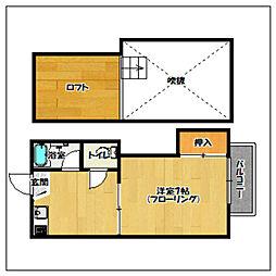 福岡県福岡市早良区西新7丁目の賃貸アパートの間取り