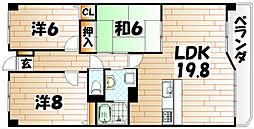 福岡県北九州市八幡東区諏訪1丁目の賃貸マンションの間取り