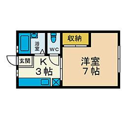 ノーブル本厚木[1階]の間取り