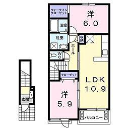アヴニールA[2階]の間取り
