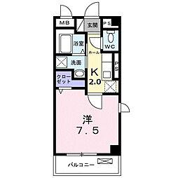 東急田園都市線 長津田駅 徒歩10分の賃貸マンション 2階1Kの間取り