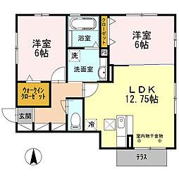 愛知県北名古屋市西之保神ノ戸の賃貸アパートの間取り