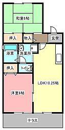 上島セジュールB[1階]の間取り