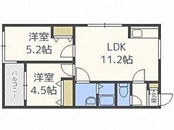 北海道札幌市中央区北七条西27丁目の賃貸マンションの間取り