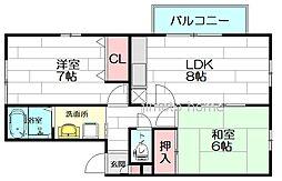 大阪府吹田市上山手町の賃貸アパートの間取り