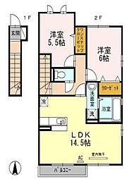 愛媛県松山市今在家3丁目の賃貸アパートの間取り
