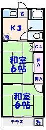 第1丸太コーポ[203号室]の間取り