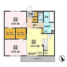 茨城県神栖市大野原中央1丁目の賃貸アパートの間取り