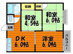 岡山県倉敷市東富井の賃貸アパートの間取り