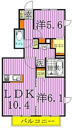 千葉県野田市光葉町3丁目の賃貸アパートの間取り