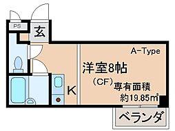 京都府京都市山科区勧修寺西金ケ崎の賃貸マンションの間取り