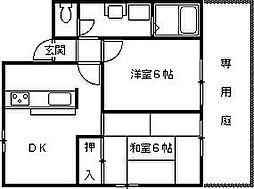 兵庫県西宮市堤町の賃貸アパートの間取り