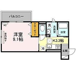 JR吉備線 備前三門駅 徒歩12分の賃貸アパート 3階1Kの間取り