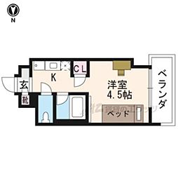 阪急京都本線 西京極駅 徒歩12分の賃貸マンション 4階ワンルームの間取り