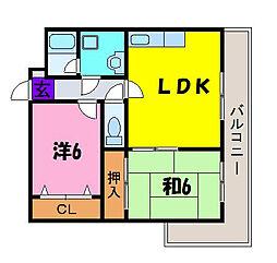 フローリッシュ北田 加納7 住道14分[2階]の間取り