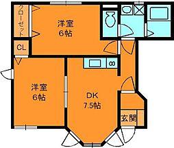 イーストサニーハイツヨシカワ2[1階]の間取り