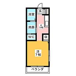 メイプルコート鴨江[2階]の間取り