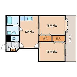 JR和歌山線 五条駅 徒歩8分の賃貸アパート 1階2DKの間取り