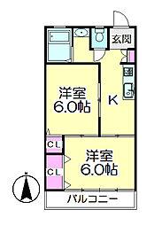 サンハイツ須賀[202号室]の間取り