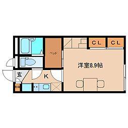 近鉄大阪線 五位堂駅 徒歩3分の賃貸アパート 2階1Kの間取り